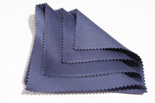 A blue cleaning cloth