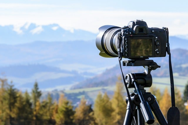 DSLR camera on a tripod