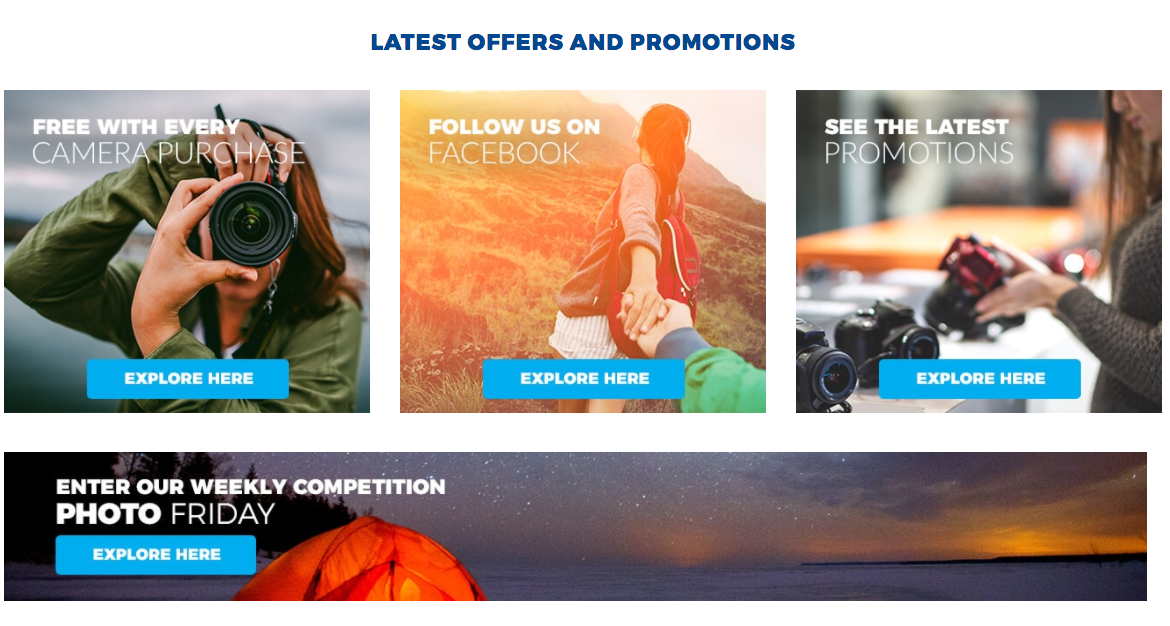 promotions and offers section on camera house blog