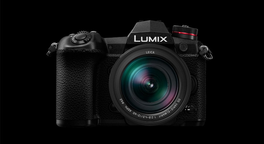A Panasonic Lumix G9 camera with lens and compact design.