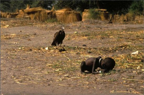 sudanese-child-dying-of-starvation-as-vulture-looks-on