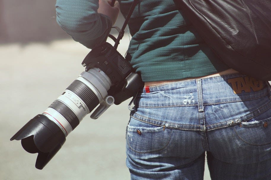 photographer with telephoto lens