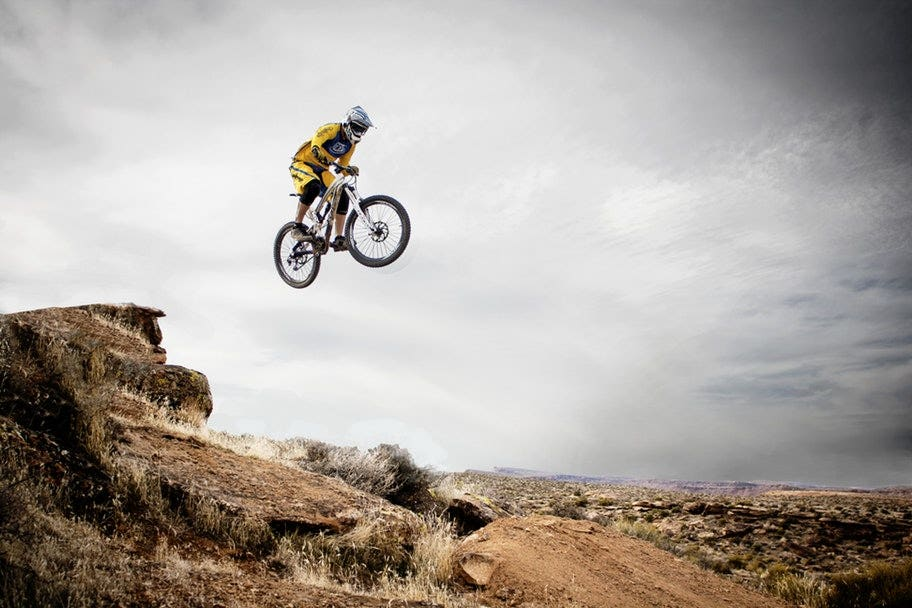 mountain biker mid air