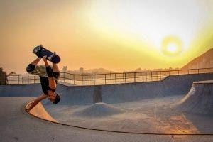 skateboarder at sunset