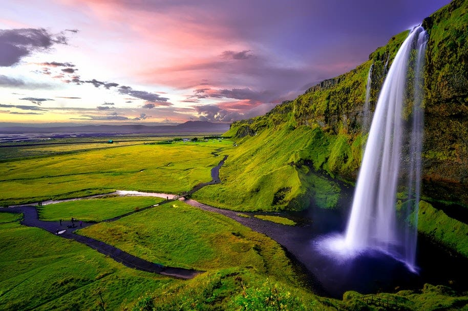 smoothing flowing waterfall in iceland