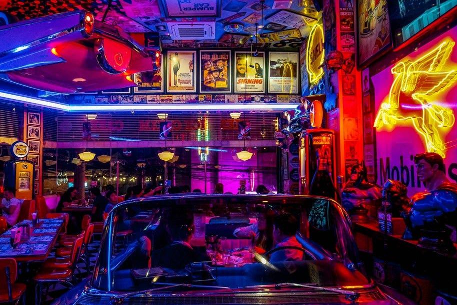 nightclub with car furniture