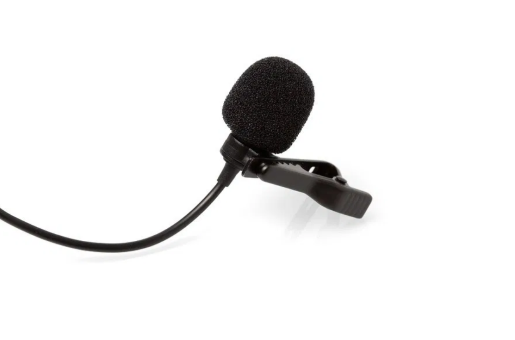 lavalier microphone on white background
