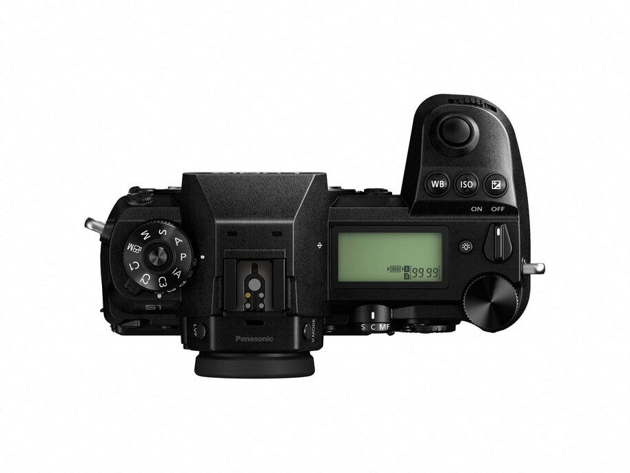 The Panasonic Lumix S1 camera from above with top LCD and control dials.