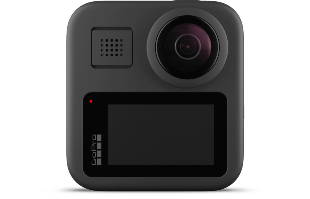 The GoPro Max 360 camera with display and lens.