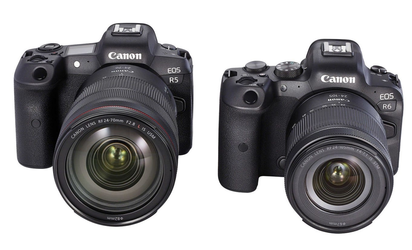 the Canon R5 mirrorless camera on the left and the R6 on the right against a while background