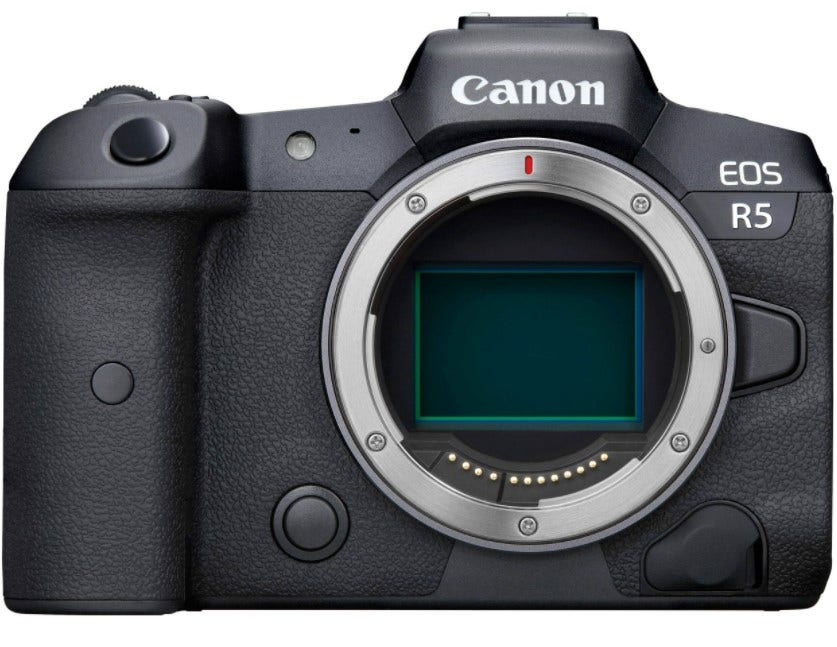 The Canon EOS R5 professional camera without the lens