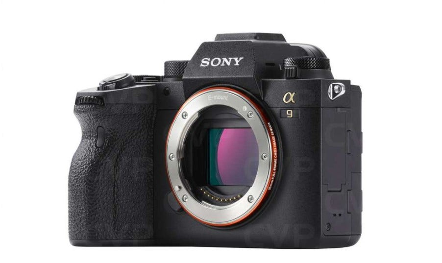 The Sony A9 Mark 2 camera for professionals with a slight side-on view, without the lens.