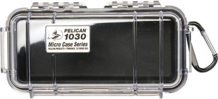 Pelican 1030 Micro Clear Case - Black with Black Liner
