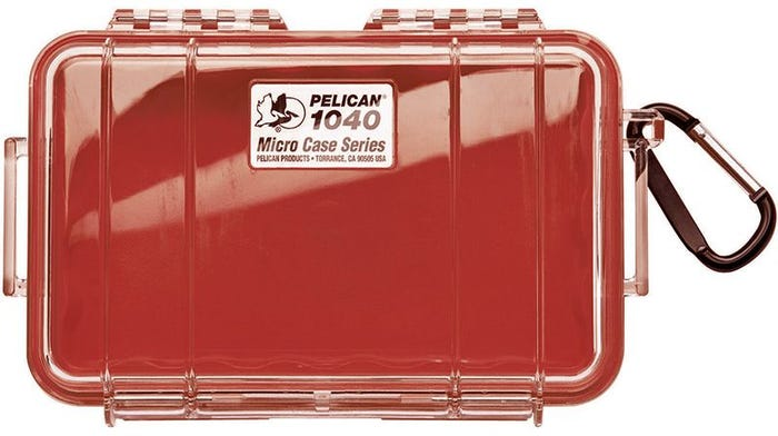 Pelican 1040 Micro Clear Case - Red with Red Liner