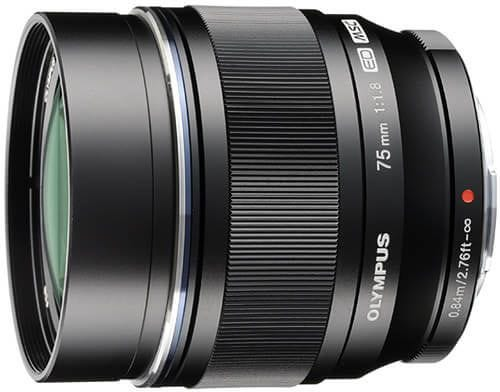 Olympus M.Zuiko 75mm f/1.8 Black Metal Body Portrait Lens