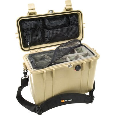 Pelican 1430 Desert Tan Case with Photo Divider Lid