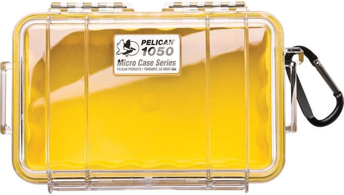 Pelican 1050 Micro Clear Case with Yellow Liner