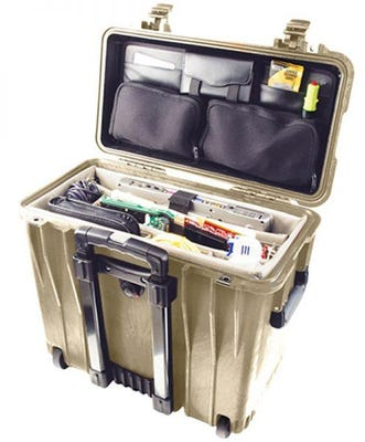 Pelican 140 Desert Tan Case with Office Divider Lid