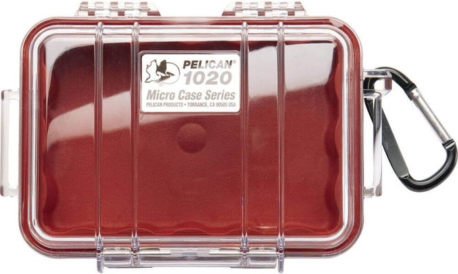 Pelican 1020 Micro Clear Case - Red with Red Liner