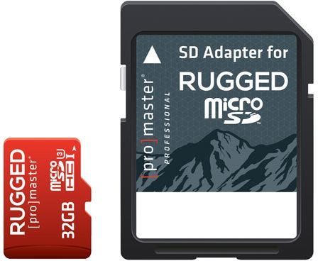 ProMaster microSD Rugged 32GB 660X / 99MB/s UHS-1 U3 V30 Memory Card with Adapter