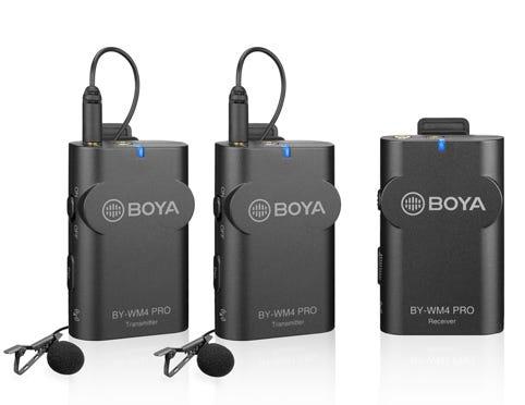 Boya BY-WM4 Pro-K2 Wireless Microphone System, 1 Receiver, 2 Transmitters