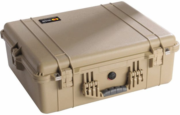 Pelican 1600 Desert Tan Case with Padded Dividers