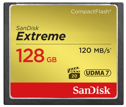 SanDisk Extreme CompactFlash 120MB/s - 128GB Memory Card