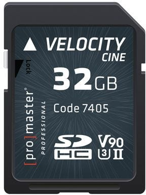 ProMaster SDHC Velocity CINE 32GB - V90 Video Speed Class 2000x 300MB/s UHS-II U3