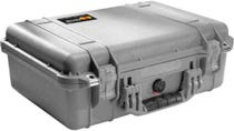 Pelican 1500 Silver Case with Padded Dividers