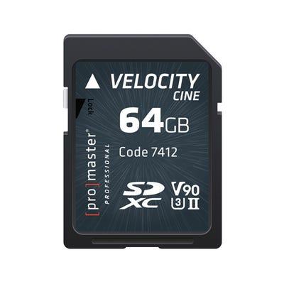 ProMaster SDXC Velocity CINE 64GB - V90 Video Speed Class 2000x 300MB/s UHS-II U3