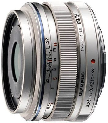 Olympus M.Zuiko 17mm f/1.8 Silver Wide Angle Lens