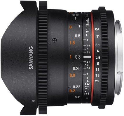 Samyang 12mm T3.1 VDSLR Canon EOS Full Frame Lens