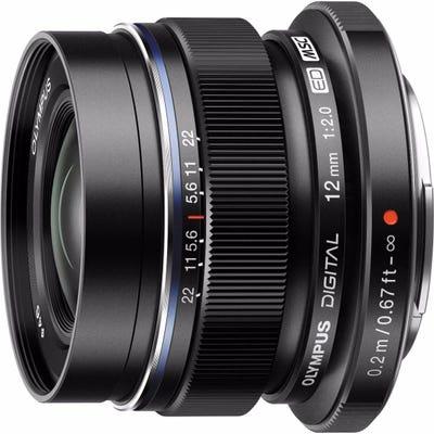Olympus M.Zuiko 12mm f/2.0 Black Wide Angle Lens