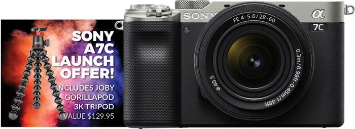 Sony Alpha A7C Silver Body w/ 28-60mm f/4-5.6 Lens CS Camera w/Joby Gorillapod 3K Tripod Kt