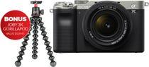 Sony Alpha A7C Silver Body w/ 28-60mm f/4-5.6 Lens & Bonus Gorrillapod Tripod CS Camera