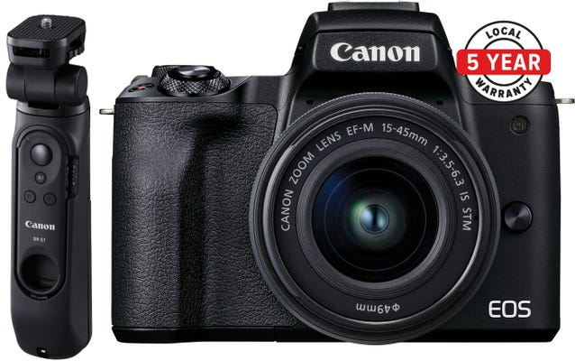 Canon EOS M50 Mark II w/EFM15- 45mm f3.5-6.3 IS STM Lens & Tripod Grip CS Camera
