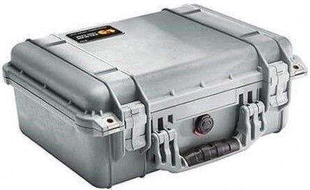 Pelican 1450 Silver Case with Padded Dividers