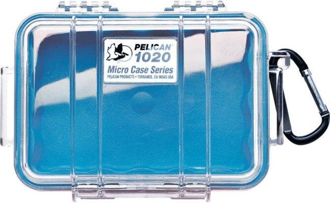 Pelican 1020 Micro Clear Case - Blue with Blue Liner