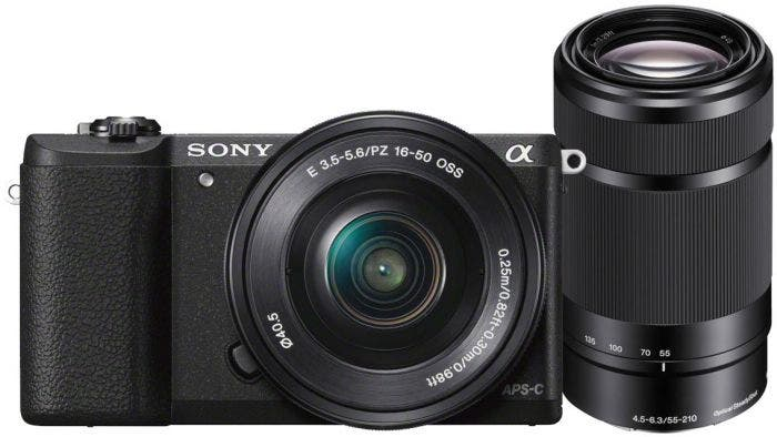 Sony A5100 Black w/16-50mm & 55-210mm f4.5-6.3 Lens Compact System Camera
