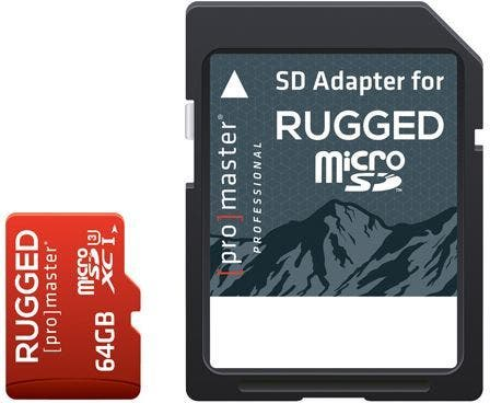 ProMaster microSD Rugged 64GB 660X / 99MB/s UHS-1 U3 V30 Memory Card with Adapter