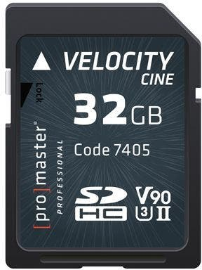 ProMaster SDHC Velocity CINE 32GB - V90 Video Speed Class 2000x 300MB/s UHS-II U3