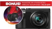 Panasonic Lumix TZ90 Black Digital Compact Camera with Bonus Black Headphone