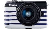 Canon EOS M100 Black w/EFM15- 45mm f3.5-6.3 IS STM Lens CS Camera w/Bonus BodyJacket Blue