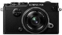 Olympus PEN-F Black Body w/ 17mm f/1.8 Black Wide Angle Lens Compact System Camera