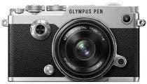 Olympus PEN-F Silver Body w/ 17mm f/1.8 Silver Wide Angle Lens Compact System Camera