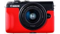 Canon EOS M100 Black w/EFM15- 45mm f3.5-6.3 IS STM Lens CS Camera w/Bonus Body Jacket Red