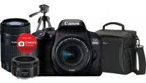 Canon EOS 800D DSLR w/18-55mm EFS, 55-250mm IS STM, 50mm STM Lens w/Tripod &Bag DSLR Camera