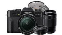 Fujifilm X-T20 Black w/XF18-55 mm, XC50-230mm, XF27mm Lens CS Camera w/Bonus Bag & Battery