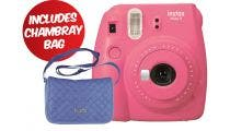 Fujifilm Instax Mini 9 Instant Camera - Flamingo Pink w/Instax Mini Chambray Case