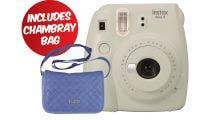 Fujifilm Instax Mini 9 Instant Camera - Smokey White w/Instax Mini Chambray Case